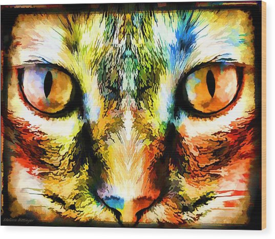 Psychedelic Kitty Cat Wood Print