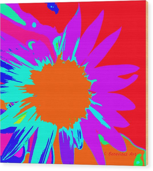 Psychedelic Sunflower Wood Print