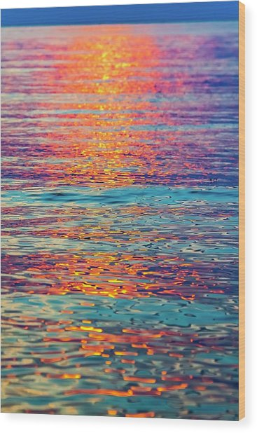 Psychedelic Sunset Wood Print