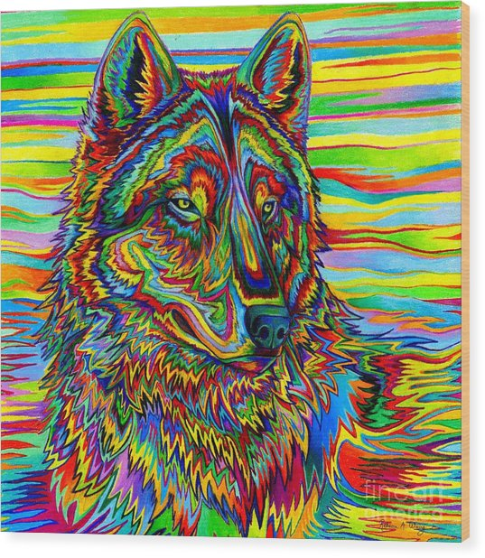 Psychedelic Wolf Wood Print