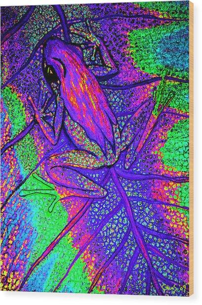 Psychodelic Tree Frog Wood Print by Nick Gustafson