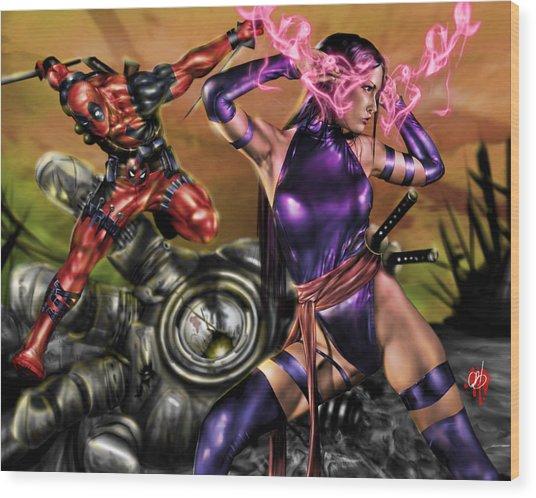 Psylocke And Deadpool Wood Print