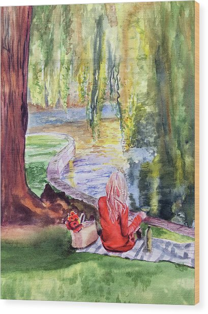 Public Garden Picnic Wood Print