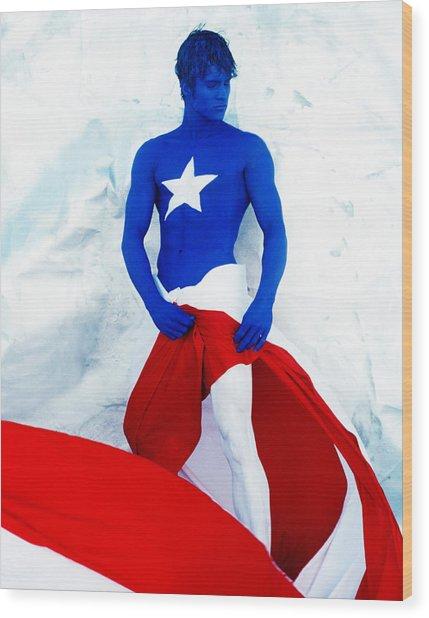 Puerto Rico Flag Wood Print by Filippo Ioco