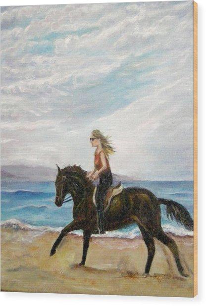 Puerto Vallarta Beach Ride Wood Print by Olga Kaczmar