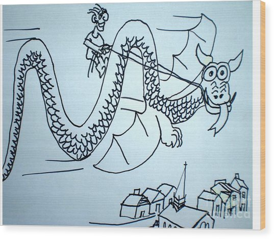 Puff The Magic Dragon Wood Print by Hal Newhouser