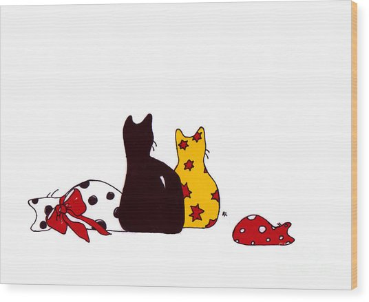 Puffie And Muffie Family Portrait Wood Print