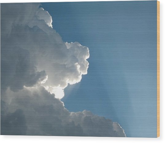 Puffy White Clouds Wood Print by Liz Vernand