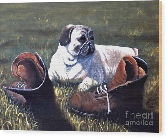 Pug And Boots Wood Print