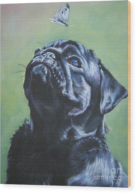 Pug Black  Wood Print
