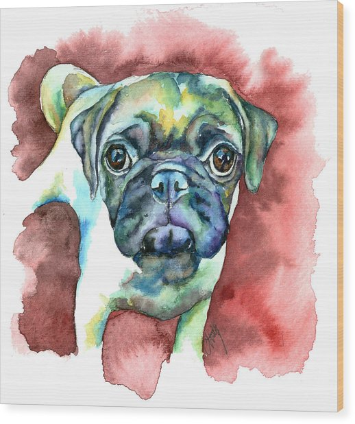 Pug In Red Wood Print