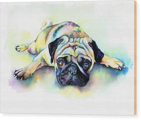 Pug Laying Flat Wood Print
