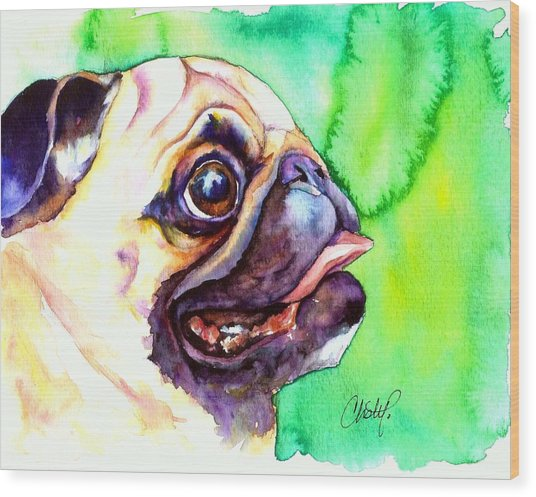 Pug Profile Wood Print