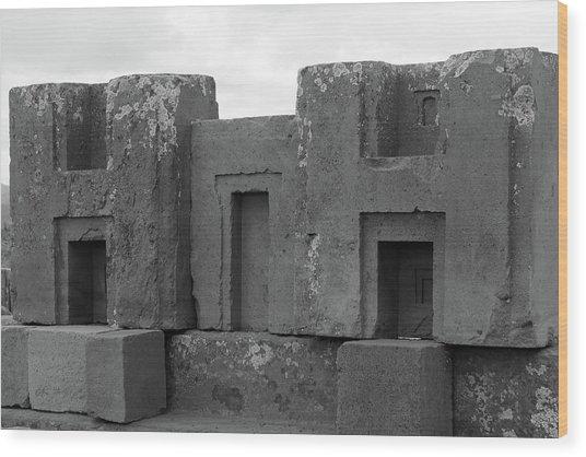Puma Punku H Blocks, Bolivia Wood Print
