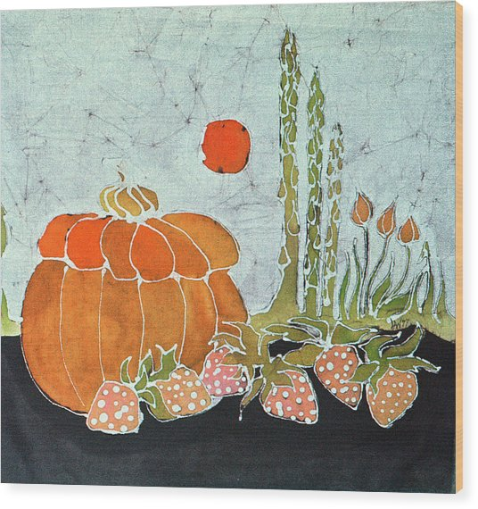 Pumpkin And Asparagus Wood Print