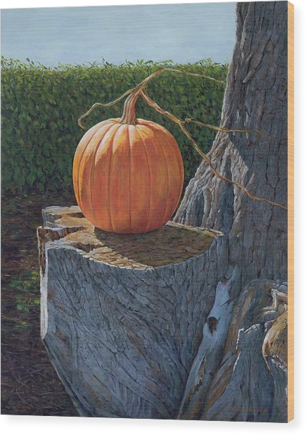 Pumpkin On A Dead Willow Wood Print