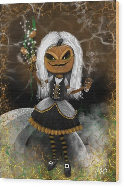 Pumpkin Spice Latte Monster Fantasy Art Wood Print