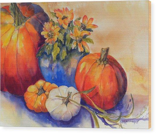 Pumpkins And Blue Vase Wood Print