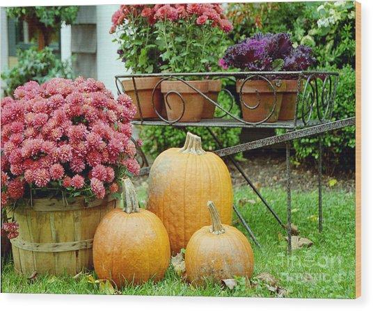 Pumpkins And Flowers Wood Print by Linda Drown