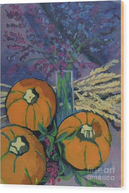 Wood Print featuring the painting Pumpkins And Wheat by Erin Fickert-Rowland