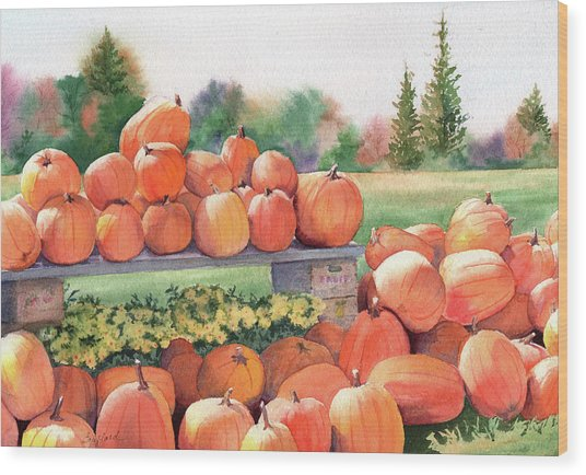 Pumpkins For Sale Wood Print