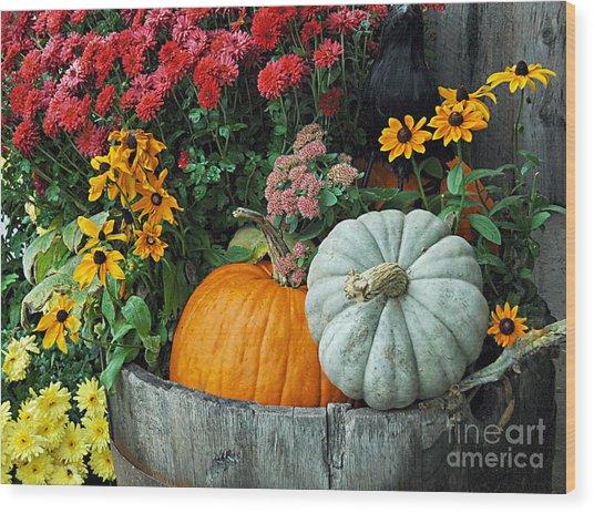 Pumpkins In Vermont Wood Print