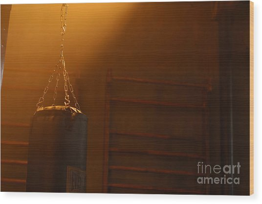 Punching Bag In The Light Wood Print