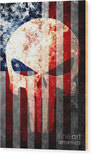 Punisher Themed Skull And American Flag On Distressed Metal Sheet Wood Print