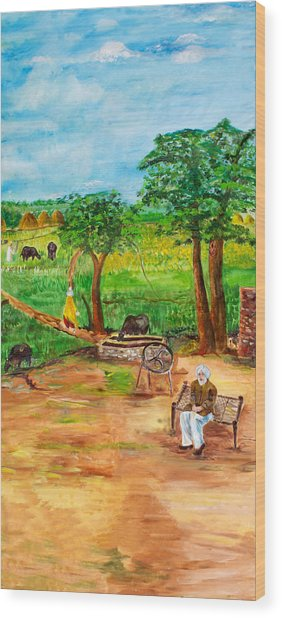 Punjabi Farmer Wood Print