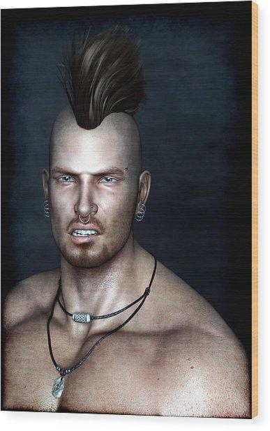 Punk Portrait Wood Print