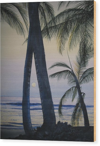 Punta Cana Moon Wood Print