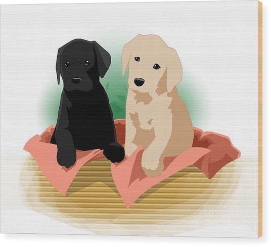 Puppy Basket Wood Print