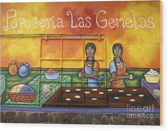 Pupusa Twins El Salvador Wood Print
