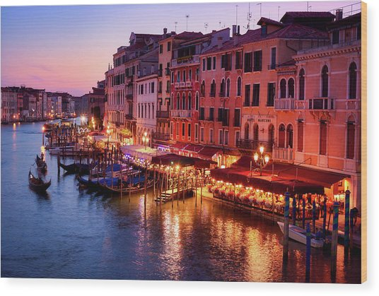 Cityscape From The Rialto In Venice, Italy Wood Print