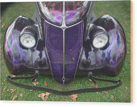 Purple Antique Ford Wood Print