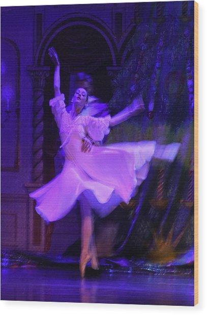 Purple Ballet Dancer Wood Print