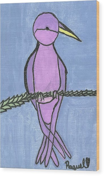 Purple Bird Perched Wood Print by Fred Hanna