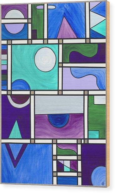 Purple-blue-green Abstract 1 Wood Print by Patty Vicknair