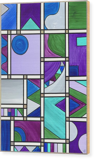 Purple-blue-green Abstract 3 Wood Print by Patty Vicknair