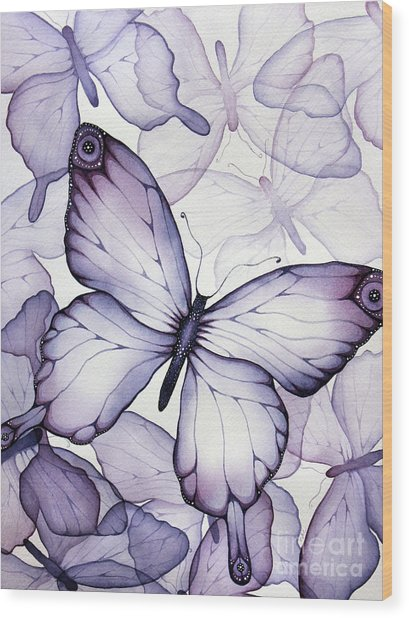 Purple Butterflies Wood Print