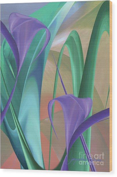 Purple Calla Lilies Wood Print