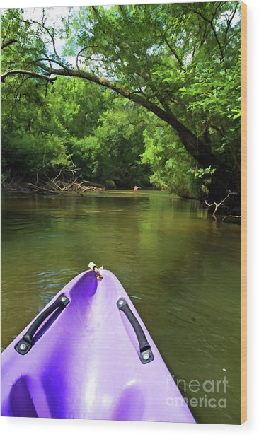 Purple Canoe On The Eyre River Wood Print by Sami Sarkis