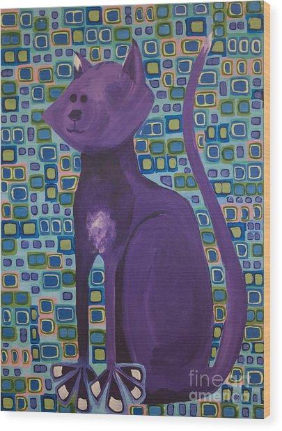 Purple Cat Wood Print