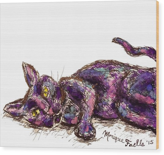 Purple Cat Wood Print