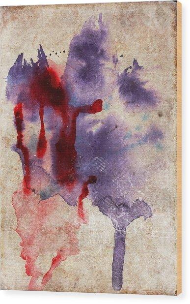 Purple Color Splash Wood Print