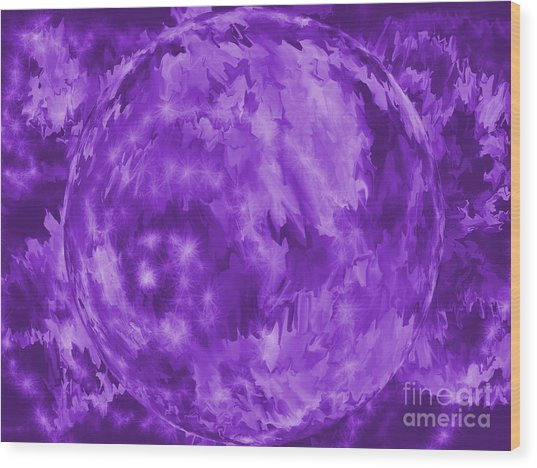 Purple Crystal Ball Wood Print by Roxy Riou
