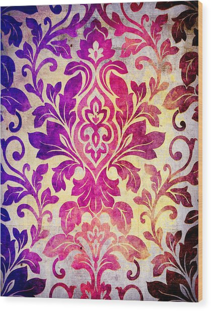 Purple Damask Pattern Wood Print