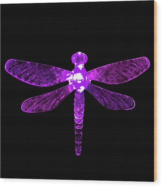 Purple Dragonfly Wood Print