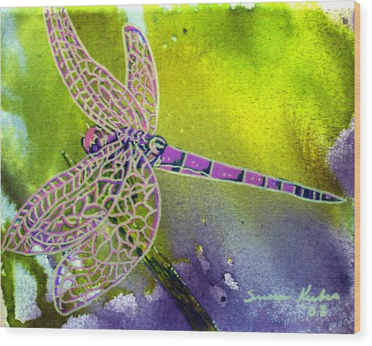 Purple Dragonfly Wood Print by Susan Kubes