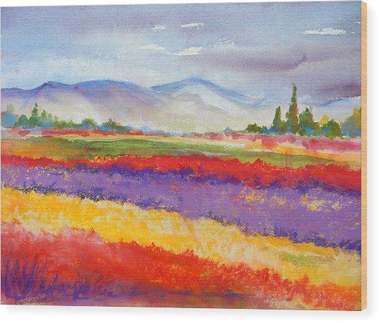 Purple Fields Wood Print